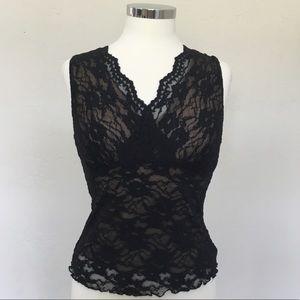 CAbi Black Lace over Nude Stretch Nylon Camisole